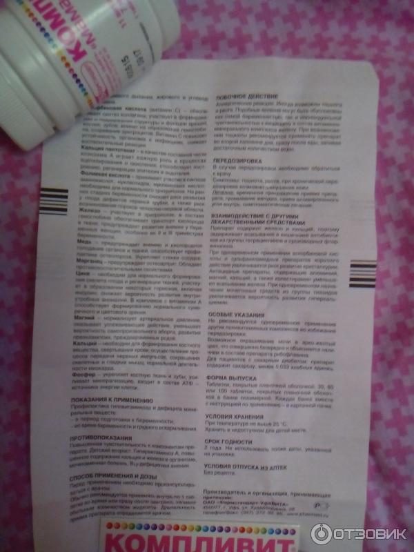 Компливит для беременных состав витаминов 71
