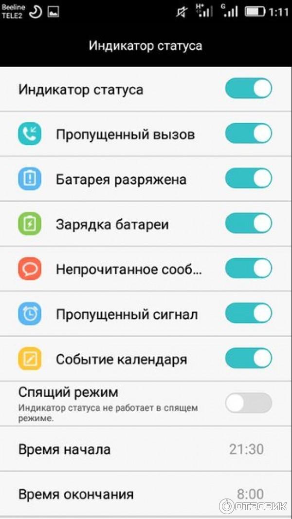 3 индикатора на телефоне