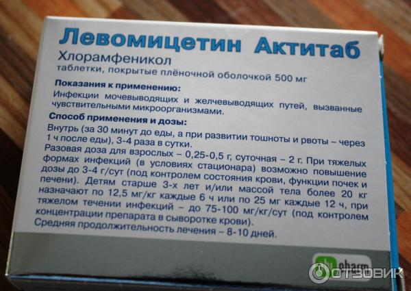 хлорамфеникол инструкция по применению таблетки