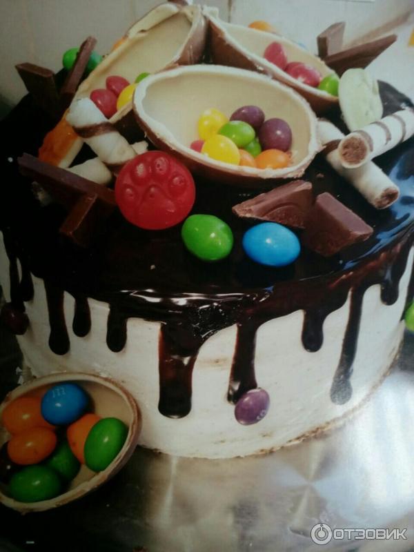 Украшение торта шоколадками и киндерами 34