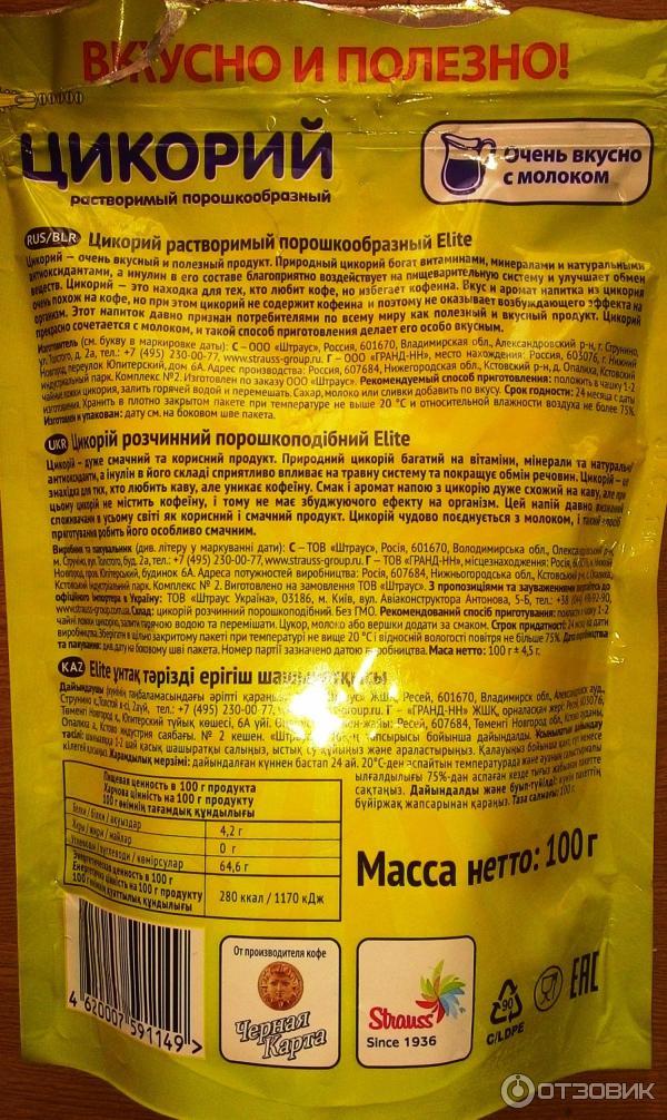 Калорийность цикория растворимого с молоком