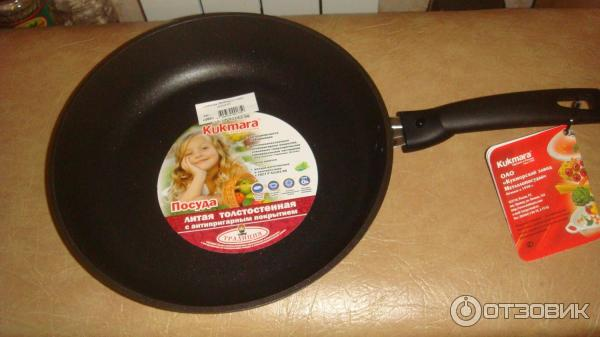 Кукмара сковорода литая толстостенная с антипригарным покрытием