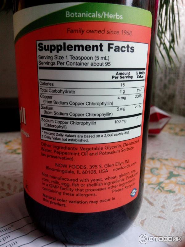Хлорофилл жидкий отзывы цена