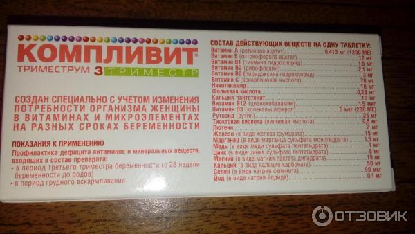 Компливит для беременных состав витаминов 53