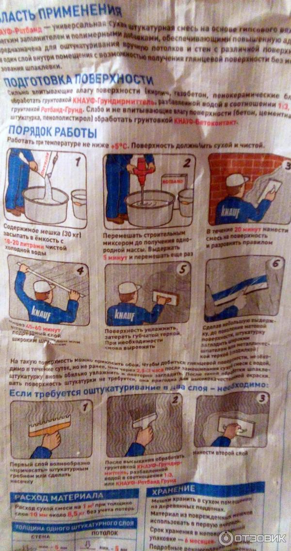 ротбанд штукатурка инструкция по применению расход