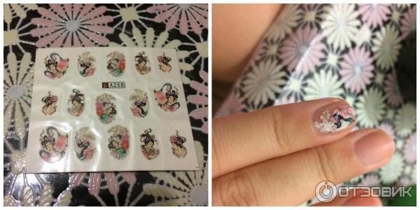 Фото квадратных ногтей с наклейками из алиэкспресс