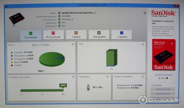 Отзыв о Твердотельный накопитель SanDisk SSD Plus   Хороший